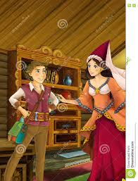 cartoon scene in the old traditional kitchen young boy and woman
