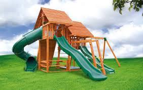 exterior kids backyard playground wood slider backyard
