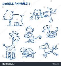 cute cartoon jungle safari animals hippo stock vector 291142490