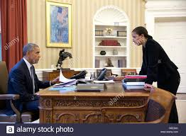 White House Oval Office Desk U S President Barack Obama Meets With National Security Advisor