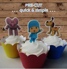 pocoyo cake toppers 12x pocoyo edible wafer stand up topper pre cut top that cupcake