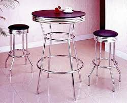 Glass Bar Table And Stools Amazon Com 3 Piece Chrome Retro Style Bar Table Set Table And 2