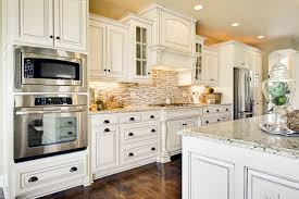 Brown And White Kitchen Cabinets Antique White Kitchen Cabinets With Granite Countertops