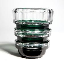Deco Vase Emerald Green Over Clear Glass Val St Lambert Art Deco Vase