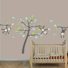 Nursery Monkey Wall Decals Gray Jungle Nursery Wall Decals With Vine Wall Decals For