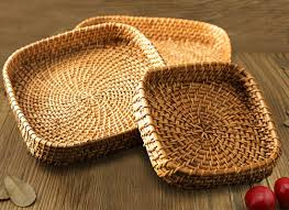 indian handicraft products online wall hanging home decor showpiece square shape decorative bamboo tray set