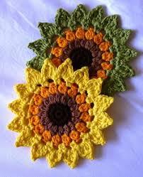 crochet pattern basket of sunflower coasters