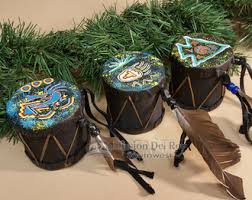 3 painted drum ornaments navajo o97 mission southwest