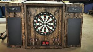 White Dartboard Cabinet Dartboard Cabinet Rustic Dark Stained Cabinet By Mgcraftsstore