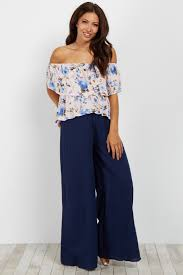 navy blue wide leg linen pants