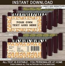 safari hershey candy bar wrappers zoo party chocolate bar labels