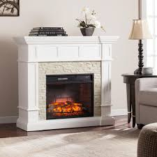 White Electric Fireplace With Bookcase by Dunkirk 44 5 In W Carved Infrared Electric Fireplace In Ivory