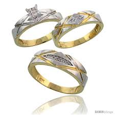 marriage rings sets 10k yellow gold trio engagement wedding rings set for him 3