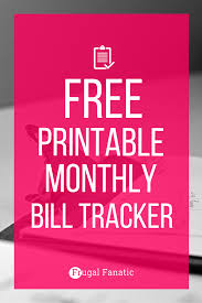 Budget Spreadsheet Printable by Free Printable Bill Tracker Manage Your Monthly Expenses