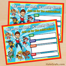 free printable paw patrol birthday invitation kids u0027 parties