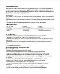 Summer Camp Counselor Resume Samples by 9 Camp Counselor Resume Free Sample Example Format Download