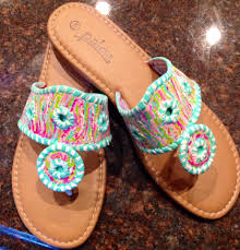 hand painted sandals in the style of jack rogers with a lilly