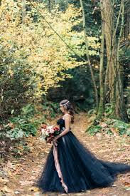 woodland nymph in a black wedding dress rock n roll bride