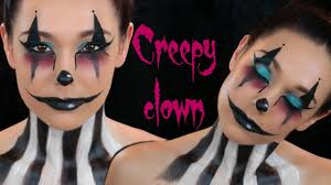 creepy clown face paint halloween makeup tutorial youtube