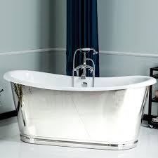 Cast Bathtub Cast Iron French Bateau Tub With Mirror Polished Exterior Skirt