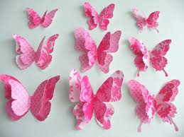 amusing 3d design pink butterfly paper wall decor ideas paper