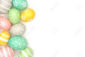 pastel easter eggs side border of painted pastel easter eggs a white