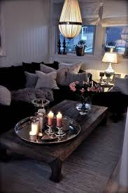 Living Room Table Accessories by Living Room With Black Sectional Sofa And Candles Stunning