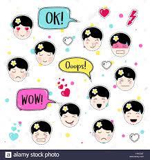 set cute patch badges kawaii anime style stock vector art