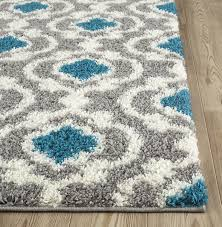 Gray And Turquoise Living Room Amazon Com Rugshop Cozy Moroccan Trellis Indoor Shag Area Rug 5