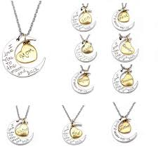 I Love You To The Moon And Back Personalized Necklace I Love You To The Moon And Back Family Member Engraved Letter