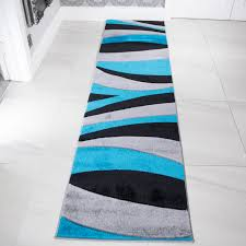 contemporary teal blue u0026 black wave living room rug rio kukoon