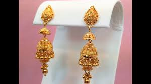 jhumki style earrings in gold goldshine treasure for generations 22k solid yellow gold