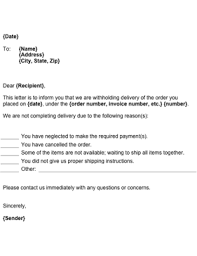 withheld delivery notice template
