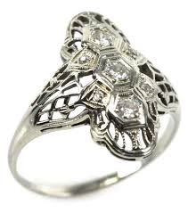 ladies 14k gold filigree art deco diamond ring