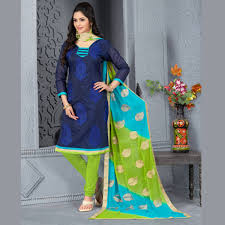 buy navy blue embroidered chanderi and cotton unstitched salwar