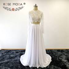 two wedding dress moda sleeves crop lace top two wedding dress chic