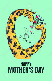 s day giraffe happy s day card vector illustrated poster with giraffe