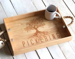 engraved tray custom personalized wooden serving tray engraved name and
