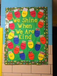 we shine when we are kind winter bulletin board for the