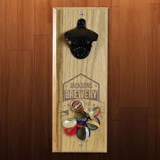 brewery themed engraved wooden wall bottle opener with magnetic