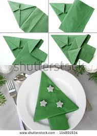 tree napkin folding stock photo 114891934