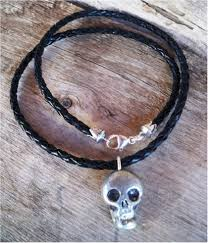braided leather necklace images Heart of a cowgirl men 39 s skull black braided leather western necklace jpg