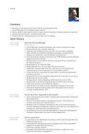 Senior Marketing Manager Resume Sample by Web Marketing Manager Resume Samples Visualcv Resume Samples