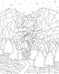 Paysage de montagne avec citation Page de livre de coloriage