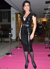 Gillian Anderson Latex - nancy dell olio wears her black pvc dress again but this time it s