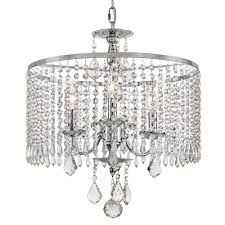 Chandelier With Black Shade And Crystal Drops Drum Chandeliers Hanging Lights The Home Depot