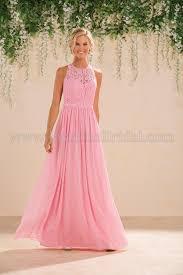 b183017 long jewel neckline lace u0026 poly chiffon bridesmaid dress
