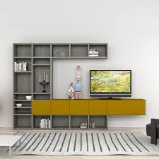 modern italian tv stand in composition of grey and mustard colours