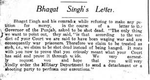 comment bhagat singh u0027s last letter from the front page of the