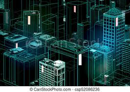 city backdrop abstract glowing digital city backdrop 3d rendering stock photos